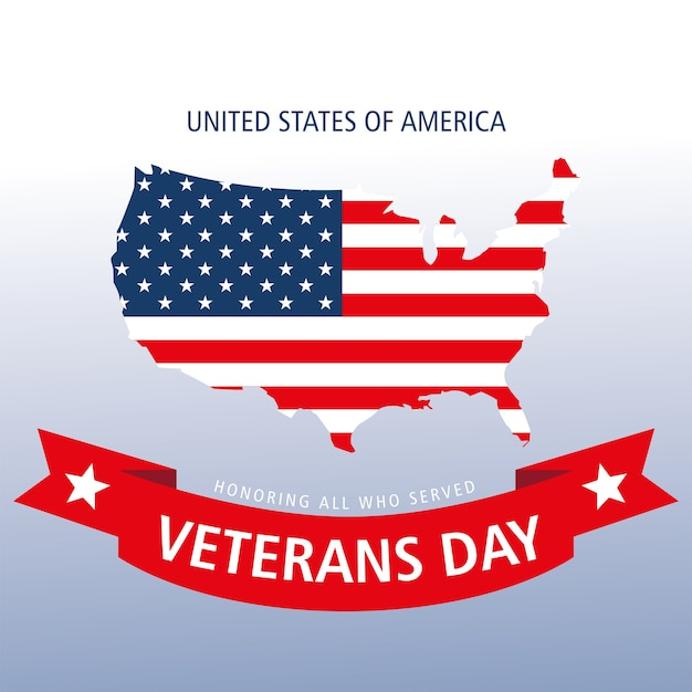 Felice giorno dei veterani, bandiera nel paese della mappa e banner