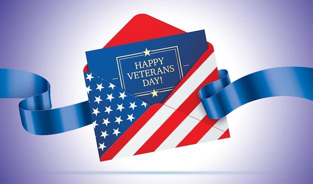 Felice giorno dei veterani saluto lettera disegno vettoriale