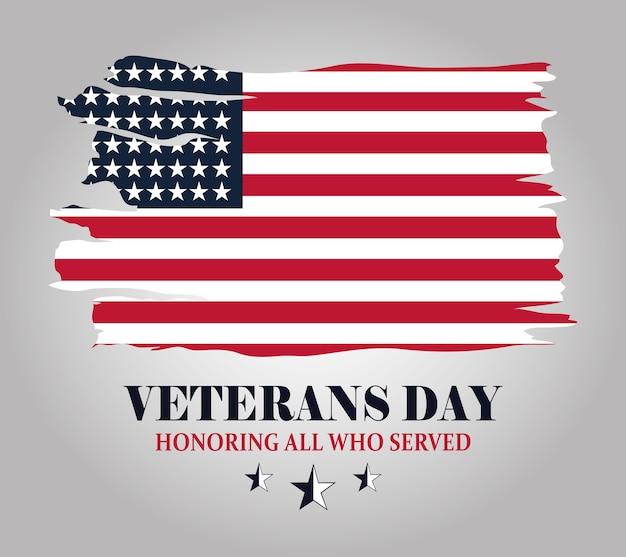 Felice giorno dei veterani, bandiera americana del grunge, in onore di tutti coloro che hanno servito, illustrazione vettoriale