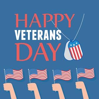Felice giorno dei veterani, mani con bandiere americane simbolo nazionale, soldato delle forze armate militari statunitensi.