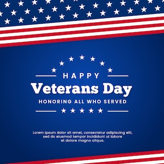 Felice giorno dei veterani in onore di tutti coloro che hanno servito la progettazione del fondo del manifesto di celebrazione del distintivo del retro logo d'annata con l'ornamento grafico della bandiera degli sua