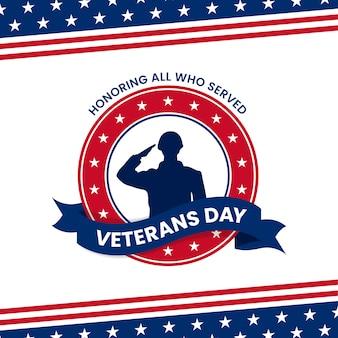 Buona giornata dei veterani in onore di tutti coloro che hanno servito. illustrazione della siluetta di saluto militare del soldato con l'ornamento grafico della bandiera degli sua