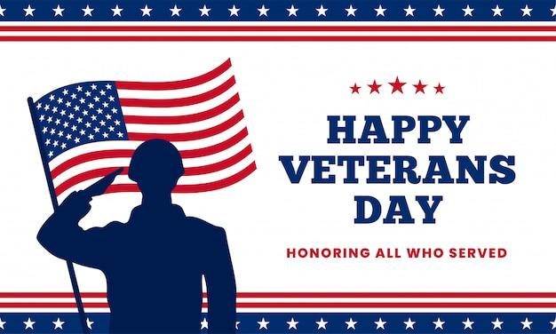 Buona giornata dei veterani in onore di tutti coloro che hanno servito. siluetta militare di saluto del soldato con la bandiera degli sua america dietro l'illustrazione di vettore.
