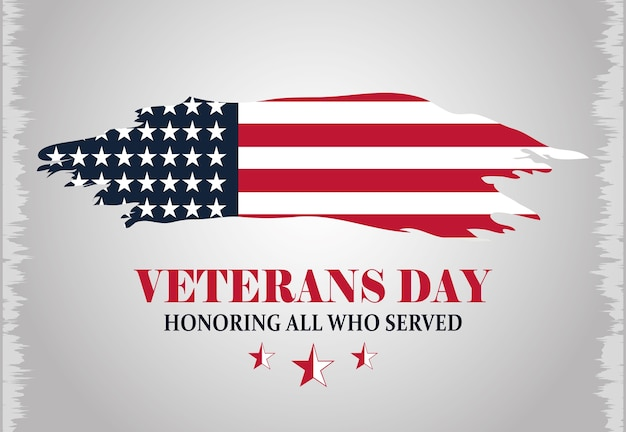 Felice giorno dei veterani, iscrizione grunge bandiera americana, sfondo grigio illustrazione vettoriale