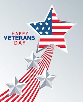 Iscrizione felice del giorno dei veterani con la bandiera degli stati uniti nel fondo grigio della stella