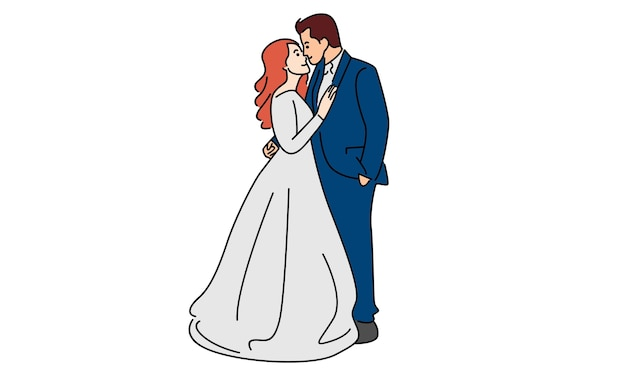 Sposi felici isolati su bianco