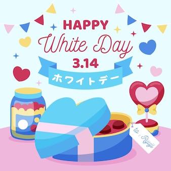 Felice giorno bianco illustrazione con scatola di cioccolatini e ghirlande