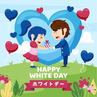 Felice giorno bianco illustrazione con coppia e cuori