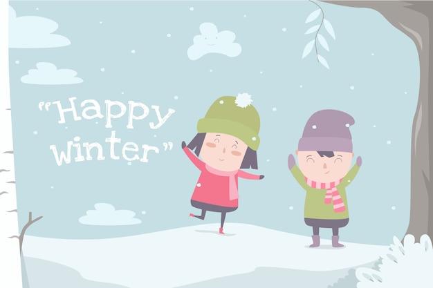 Happy winter flat ilustration cute child desin