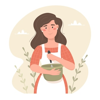 La donna felice in grembiule bussa gli ingredienti di cottura in una ciotola. illustrazione vettoriale disegnato a mano. atmosfera accogliente, prodotti da forno fatti in casa
