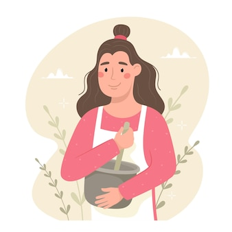 La donna felice in grembiule bussa gli ingredienti di cottura in una ciotola. disegnato a mano.
