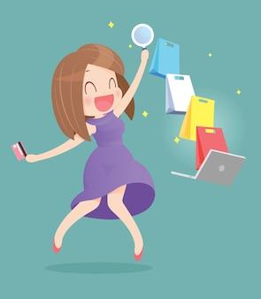 Donna felice che fa spesa online