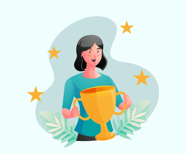 Donna felice ottiene un premio detiene un trofeo