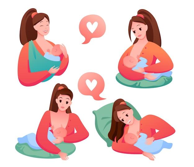 Donna felice che tiene bambino neonato e allatta al seno, supporto per la maternità. posizioni per l'allattamento al seno