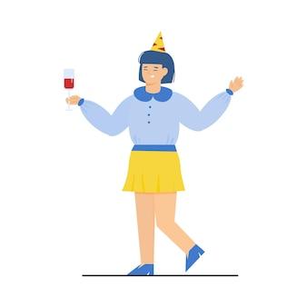 Donna felice in cappello di festa e con l'illustrazione di vettore di schizzo della bevanda isolata