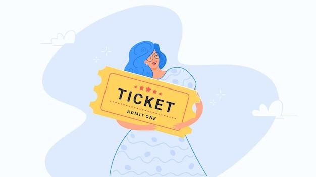 Donna felice che abbraccia il grande biglietto giallo illustrazione vettoriale piatta di persone che acquistano biglietti per il cinema