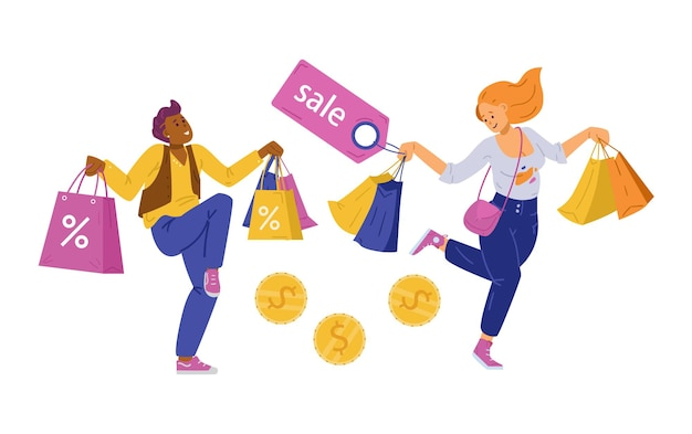 L'acquirente felice di una donna e un uomo o una danza fanatica dello shopping tiene in mano le borse della spesa