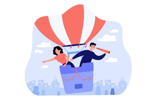 Felice donna e uomo alla ricerca di dipendenti in mongolfiera isolato illustrazione piatta