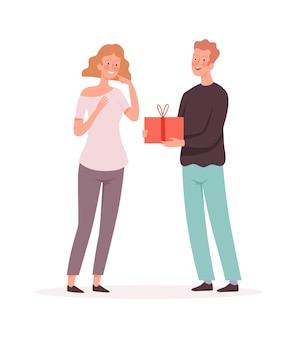 La donna felice riceve il regalo. marito e moglie, il ragazzo fa un regalo alla ragazza. anniversario o compleanno, amicizia o illustrazione vettoriale di vacanza in famiglia. regalo regalo del marito alla moglie, fidanzata felice