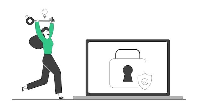 Donna felice correre con una chiave enorme in mano e una lampadina incandescente sopra la testa al laptop