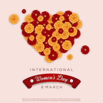 Giorno della donna felice con amore floreale