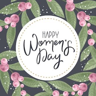 Cartolina d'auguri di happy women day con sfondo di fiori disegnati a mano