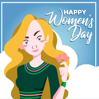 Ragazza di hippy felice giorno delle donne