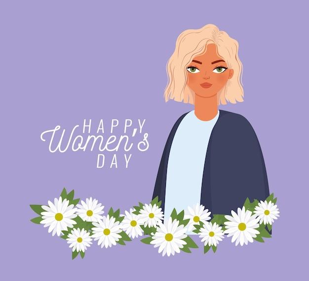 Iscrizione di giorno della donna felice, donna con capelli biondi e illustrazione di fiori bianchi