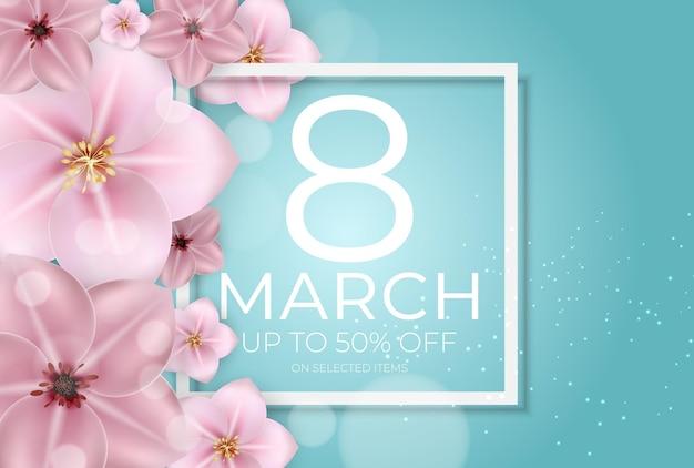 Banner di vendita di auguri di felice festa della donna 8 marzo.