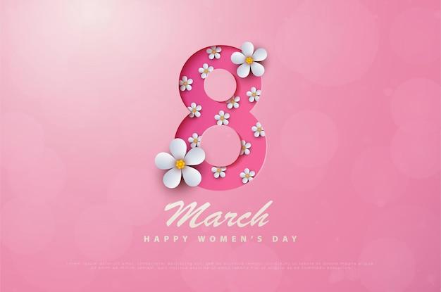 Buona festa della donna 8 marzo con fiori bianchi.