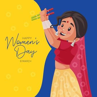 Felice giorno delle donne banner design con donna indiana che balla