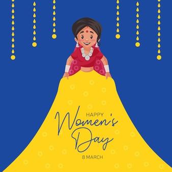 Felice giorno della donna banner design con donna indiana che mostra il suo vestito