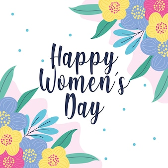 Carta di giorno della donna felice con i fiori. illustrazione