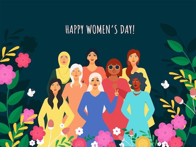 Concetto di giorno della donna felice con gruppo femminile di religione diversa e floreale
