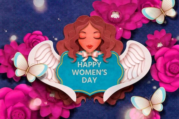 Buon design per la festa della donna con decorazioni di fiori fucsia e angelo in stile artigianale