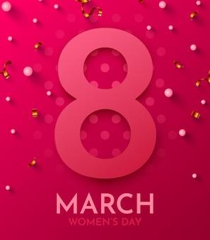 Cartolina d'auguri di felice festa della donna. 8 marzo.