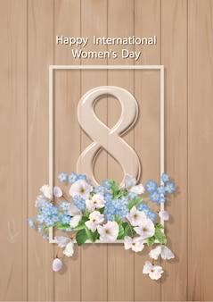 Cartolina d'auguri di felice festa della donna l'8 marzo