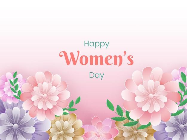 Cartolina d'auguri di giorno della donna felice con bellissimi fiori e foglie