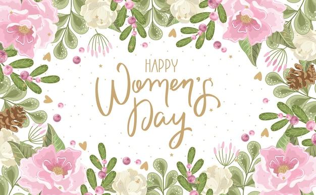 Saluto di giorno della donna felice con sfondo di fiori disegnati a mano