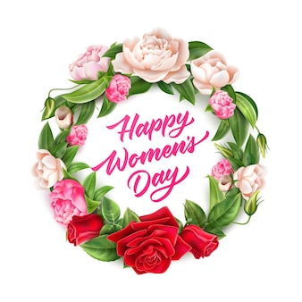 Iscrizione del giorno della donna felice in corona di fiori rosa e peonia realistici