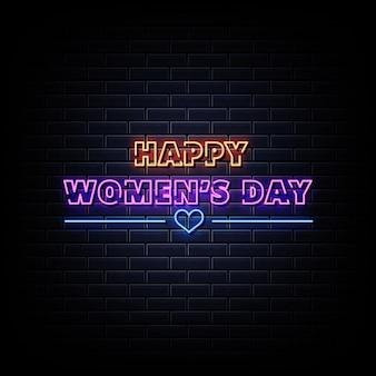Insegna al neon del giorno della donna felice