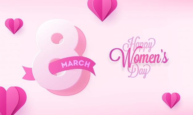 Felice giorno della donna poster o banner design con cuori di carta.