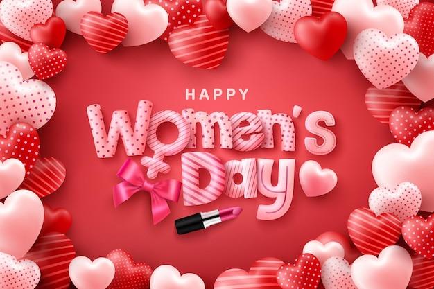Manifesto o striscione del giorno della donna felice con carattere carino su sfondo rosso e cuori dolci