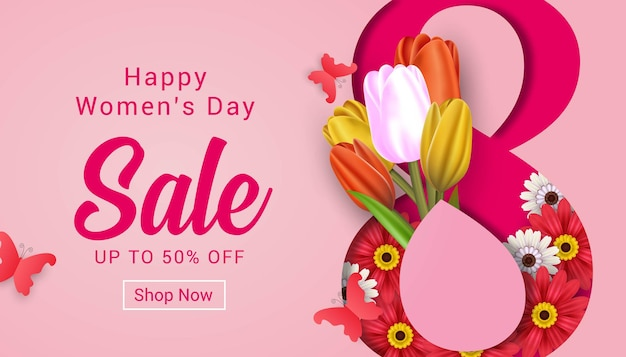 Modello della bandiera di vendita di giorno della donna felice