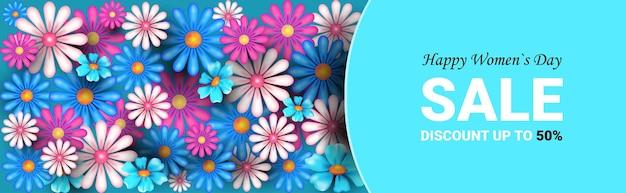 Bandiera di vendita di giorno della donna felice con fiori
