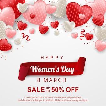 Vendita di giorno della donna felice con palloncino d'amore