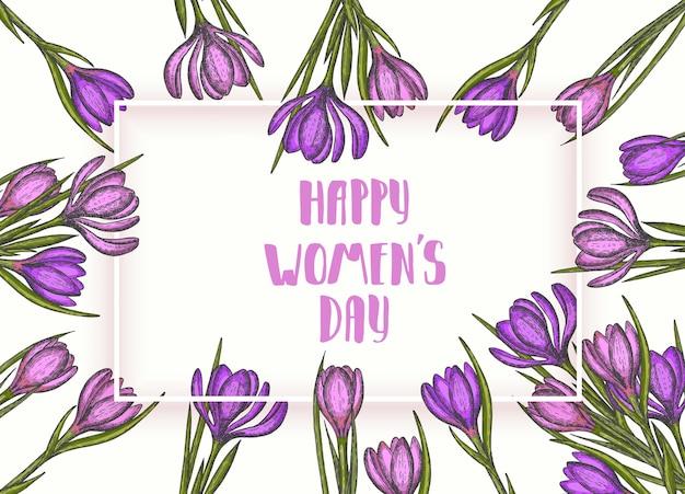 Felice giorno delle donne. fiori di primavera disegnati a mano croco lilla e rosa.