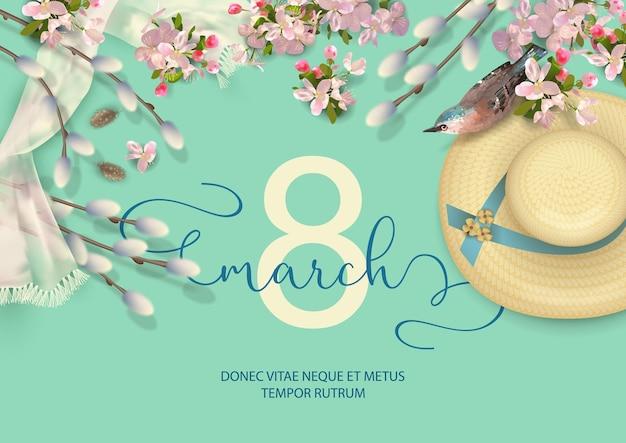 Cartolina d'auguri di primavera felice festa della donna con un uccello, cappello di paglia, rami di salice e fiori di ciliegio