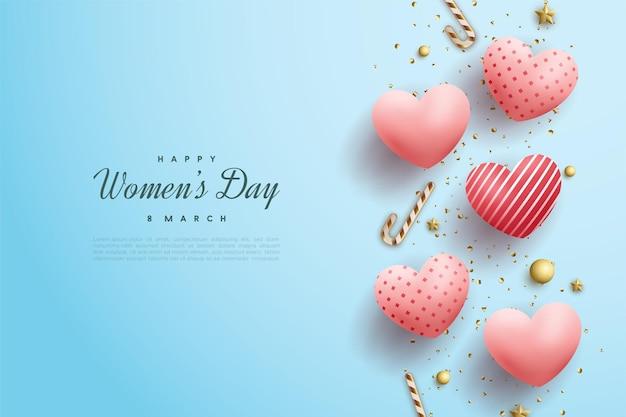 Giornata della donna felice con palloncini rosa amore 3d sull'azzurro