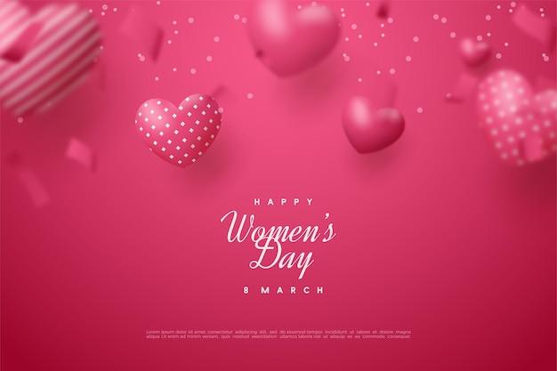 Giornata della donna felice con palloncini rossi amore 3d.